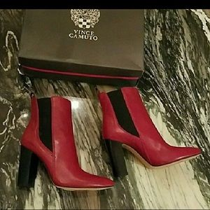 Vince Camuto Red Britsy Bootie Leather 7